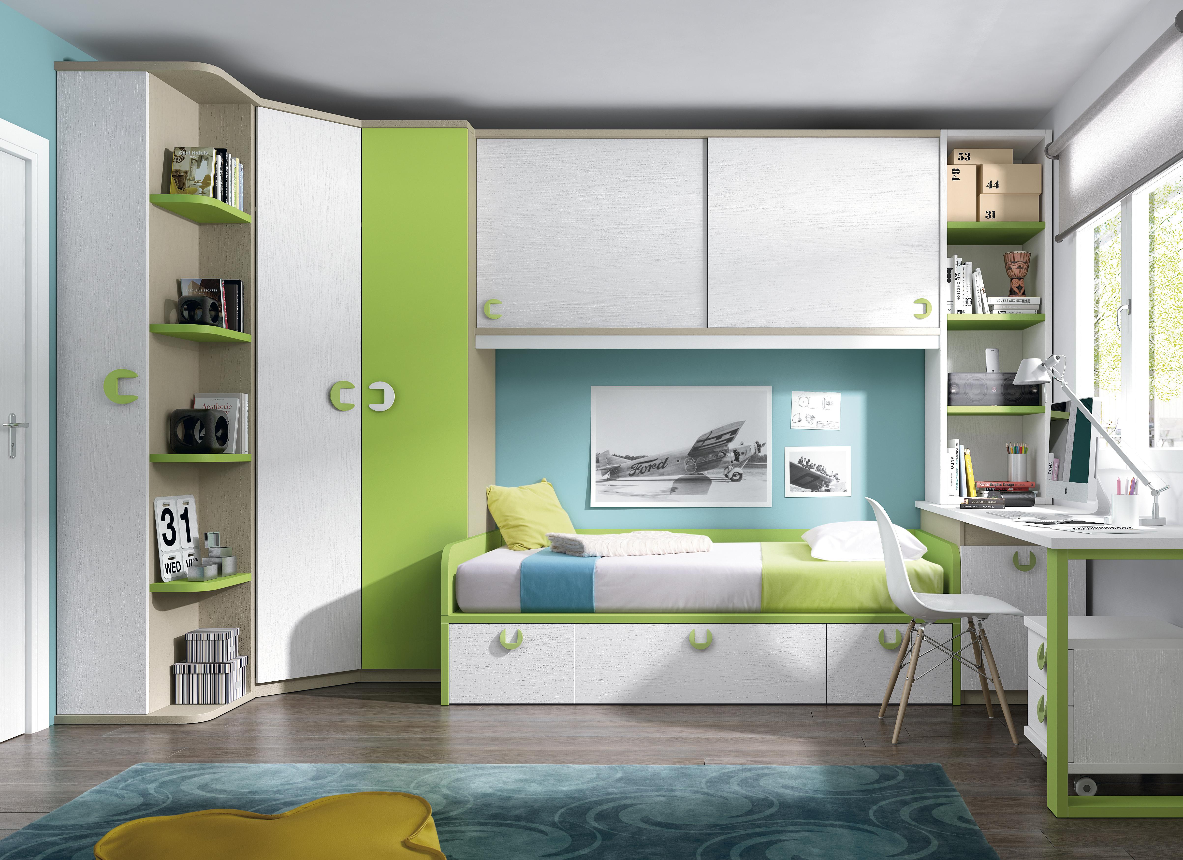 Dormitorios Juveniles Nietohogar # Muebles Funcionales Para Ninos